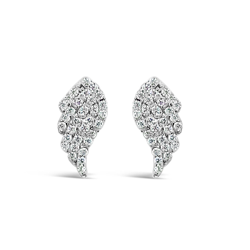 Angel Wing Diamante Sterling Silver Stud Earrings - Eva Victoria
