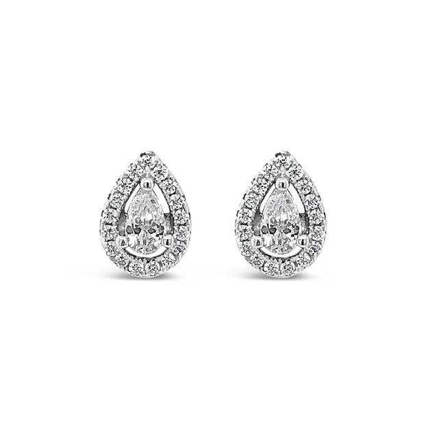 Melody Diamante Teardrop Sterling Silver Stud Earrings