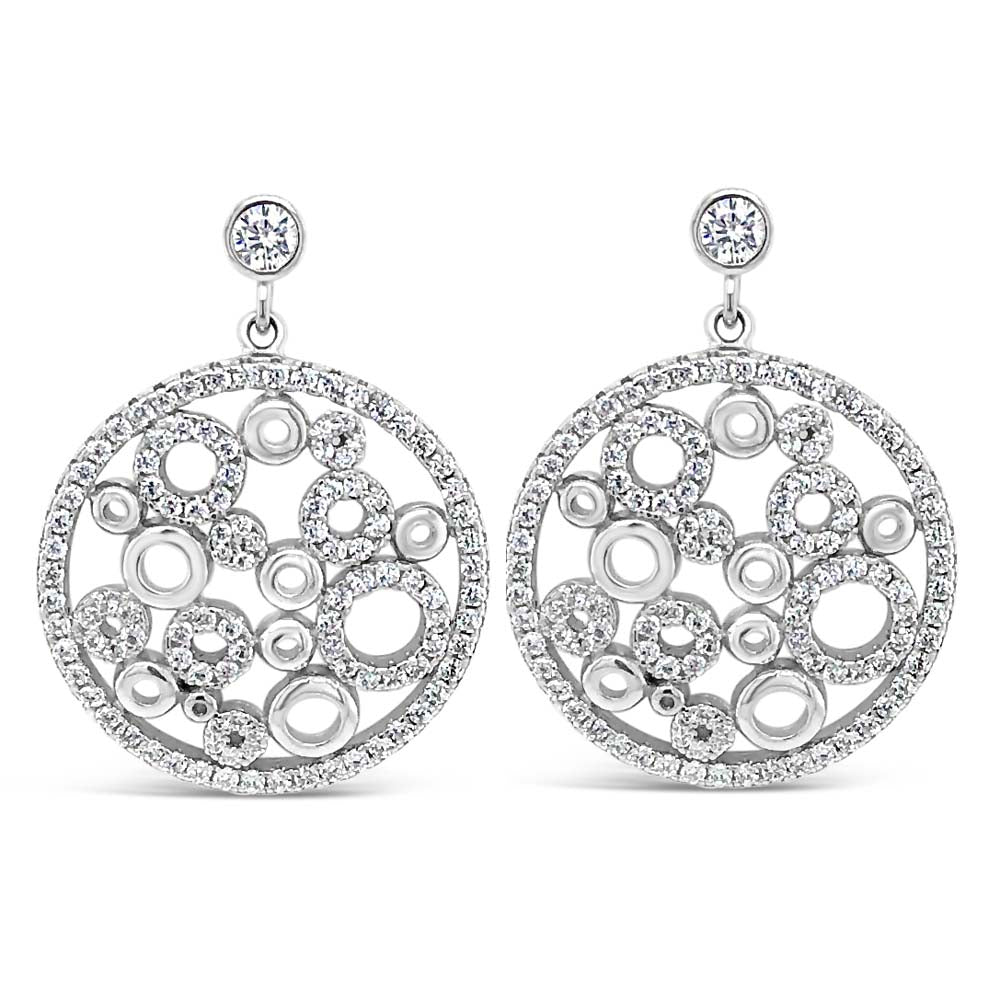 Karina Diamante Circle Sterling Silver Statement Earrings