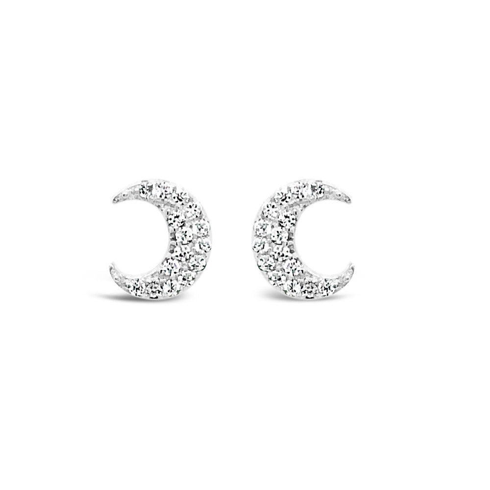 Moonlight Crystal Sterling Silver Delicate Stud Earrings