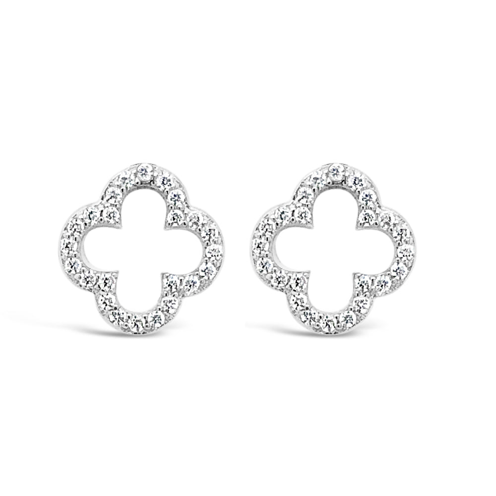 Emery Crystal Sterling Silver Delicate Stud Earrings