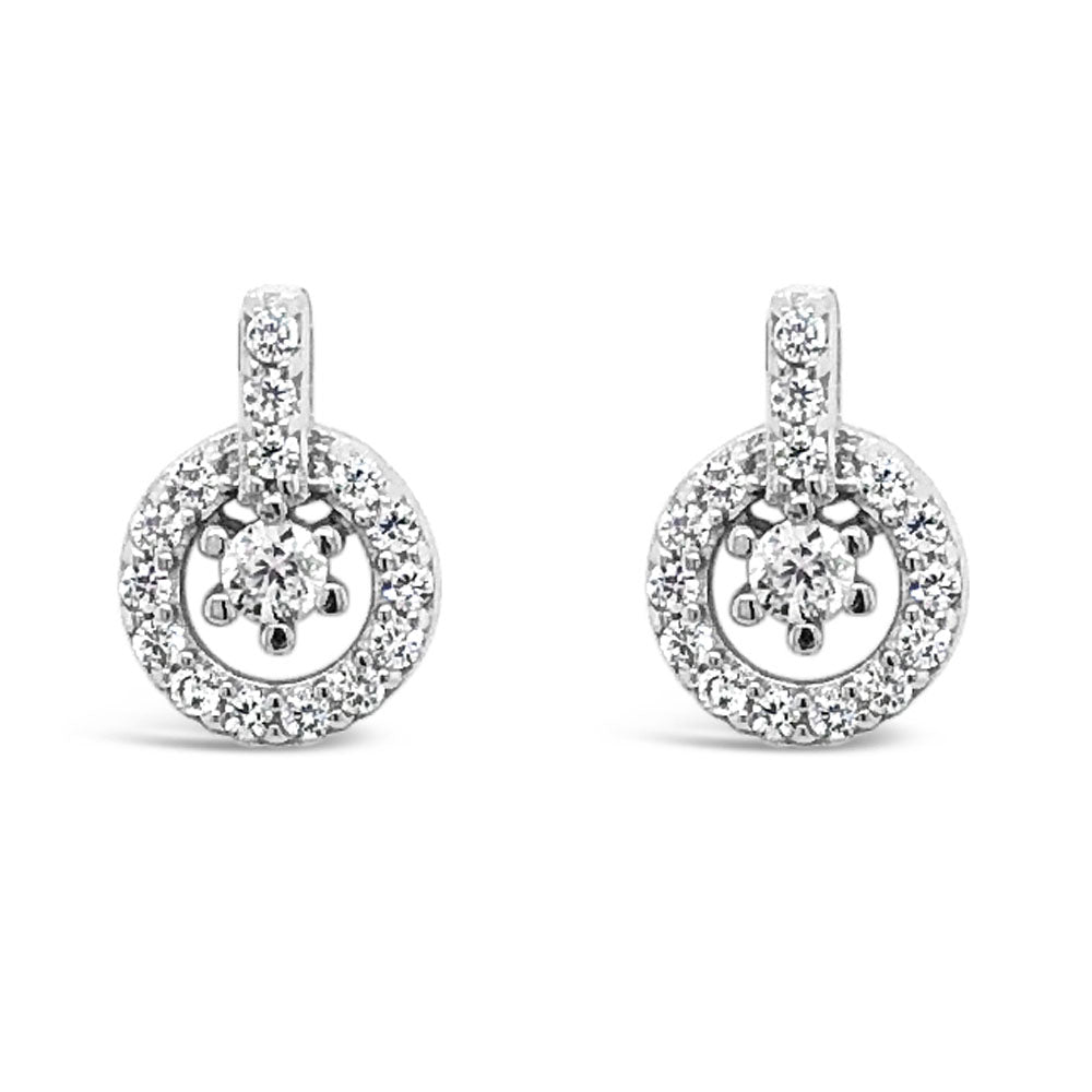 Eliana Crystal Circles Sterling Silver Stud Earrings