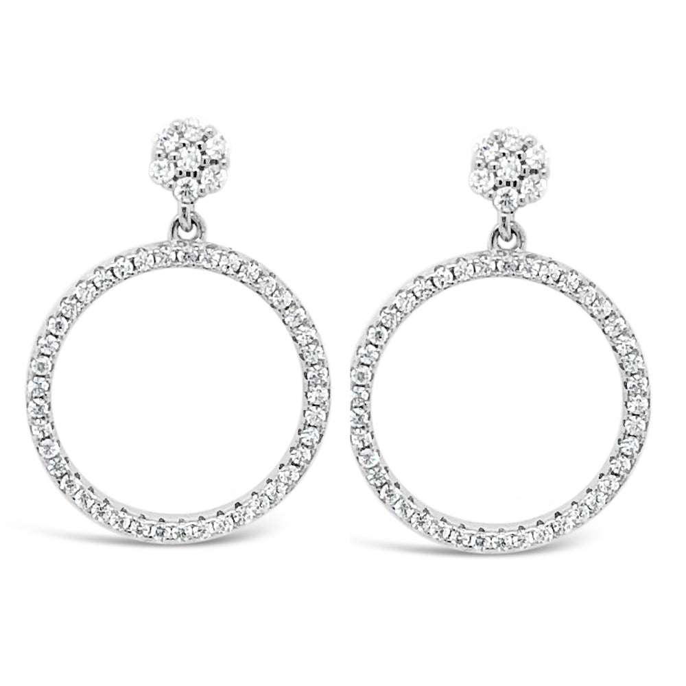 Adeline Circle Crystal Hoop Sterling Silver Stud Earrings - Eva Victoria