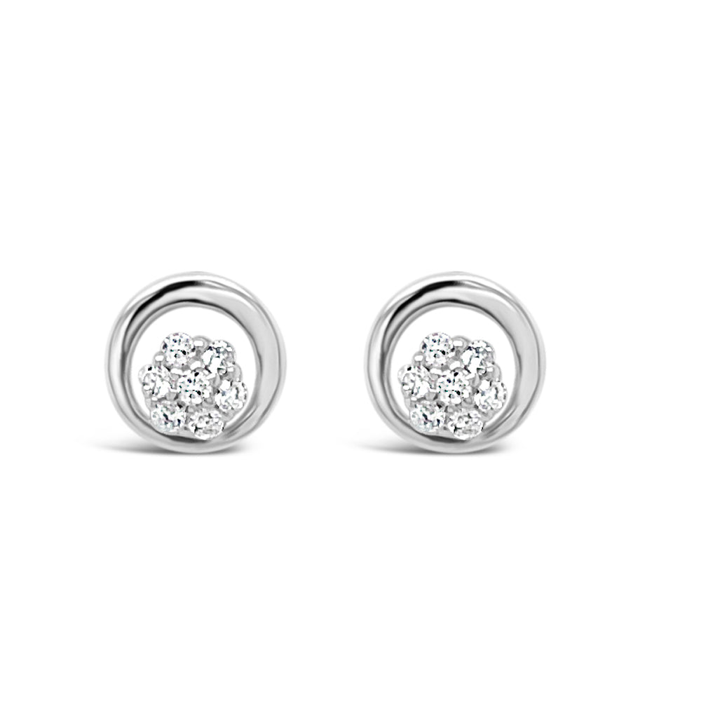 Flower Circle Crystal Sterling Silver Stud Earrings