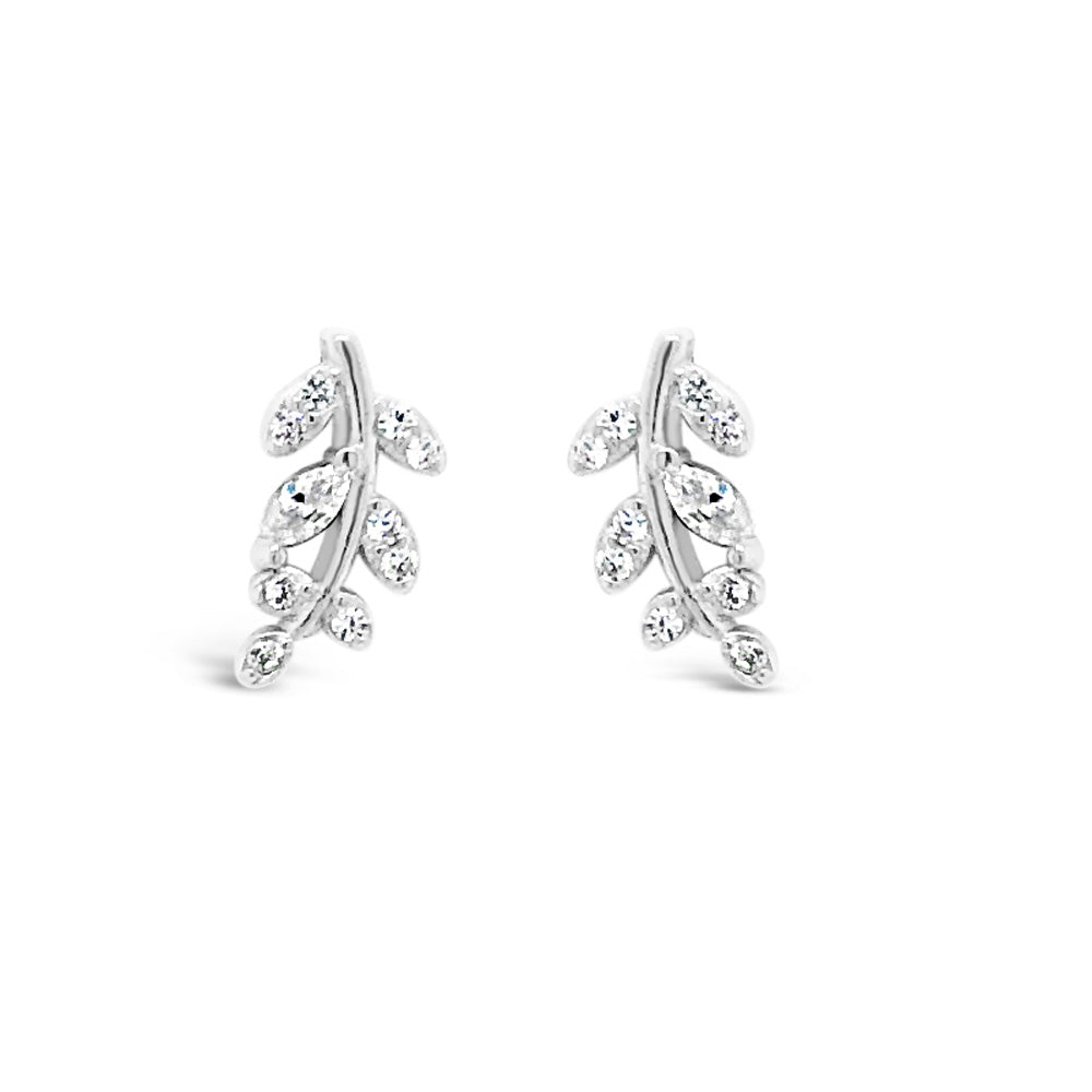 Branch Crystal Sterling Silver Stud Crawler Earrings - Eva Victoria