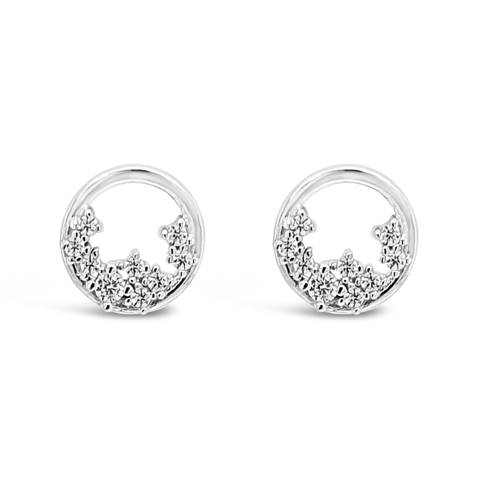 Autumn Circle Crystal Sterling Silver Stud Earrings - Eva Victoria