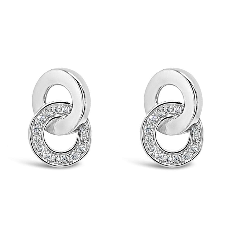 Dior Inter-Circle Crystal Sterling Silver Stud Earrings