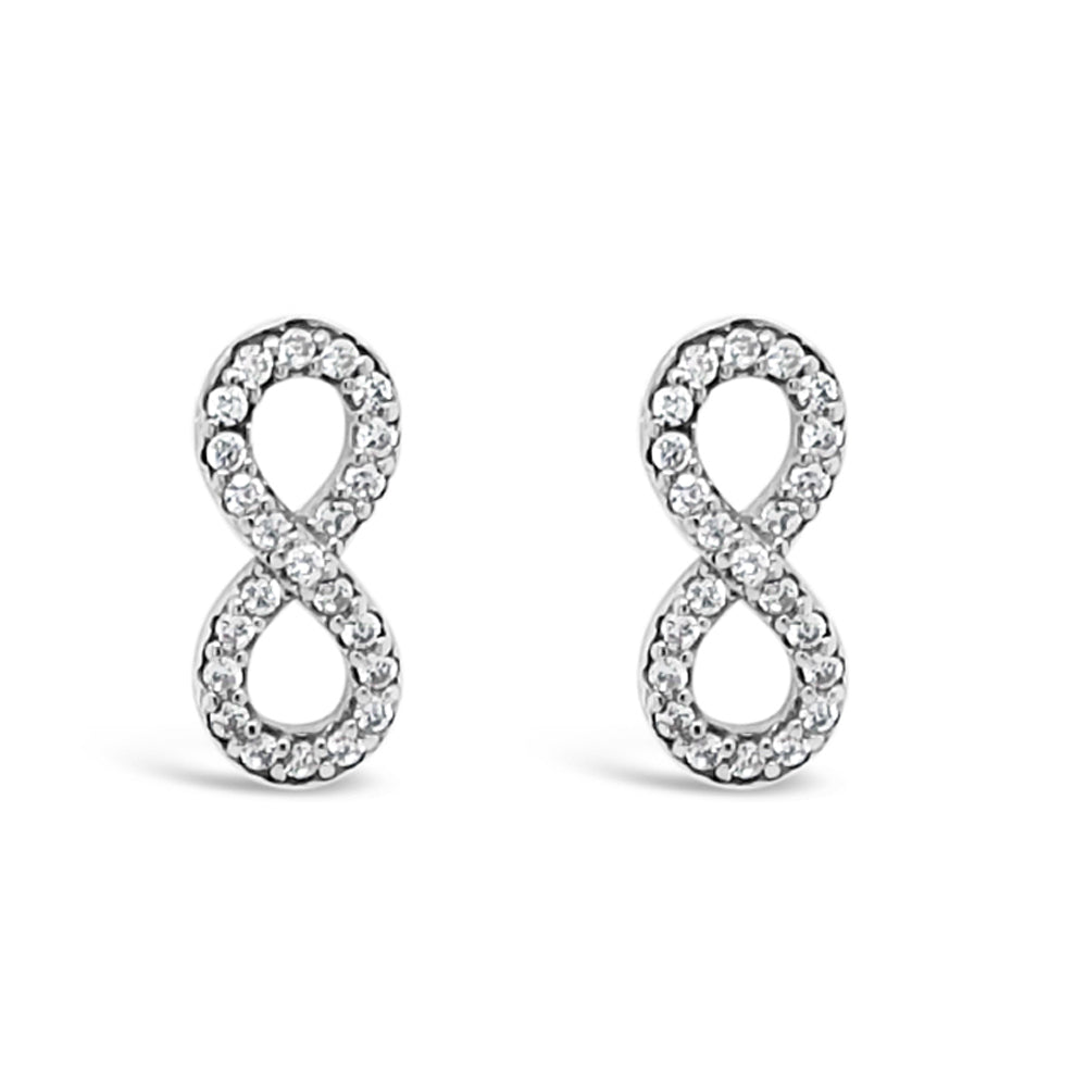 Infinity Love Diamante Sterling Silver Stud Earrings