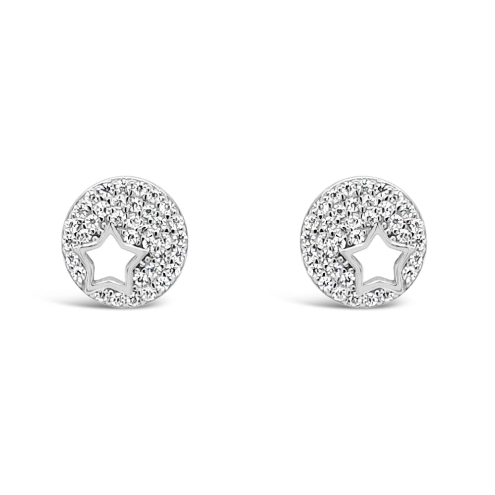 Star Light Diamante Sterling Silver Stud Earrings