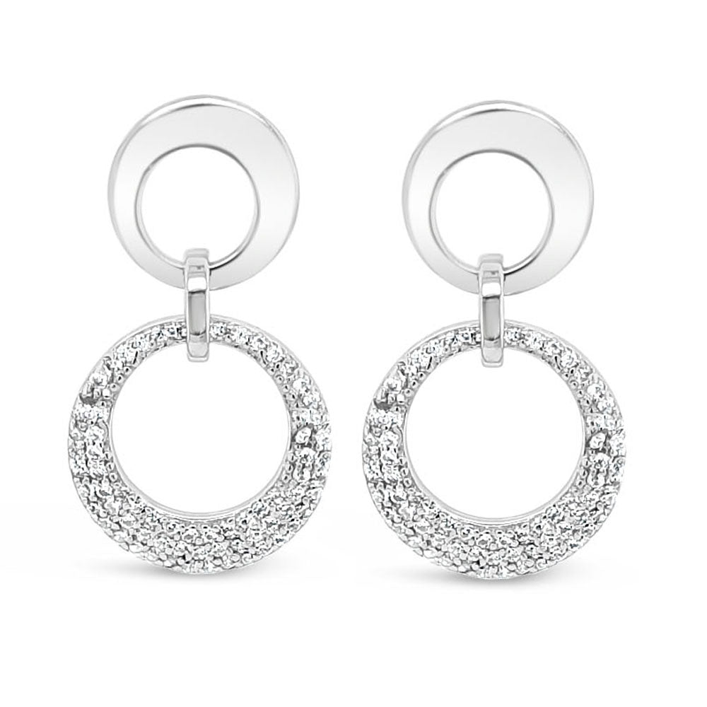 Double Circle Diamante Sterling Silver Drop Earrings