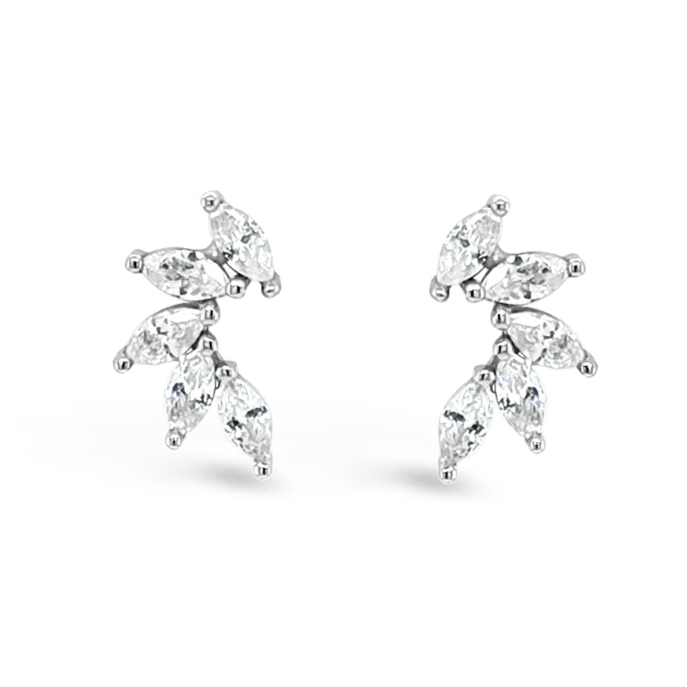 Thea Diamante Sterling Silver Crawler Stud Earrings