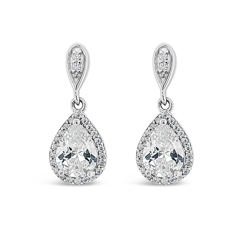 Dana Teardrop Diamante Sterling Silver Stud Earrings