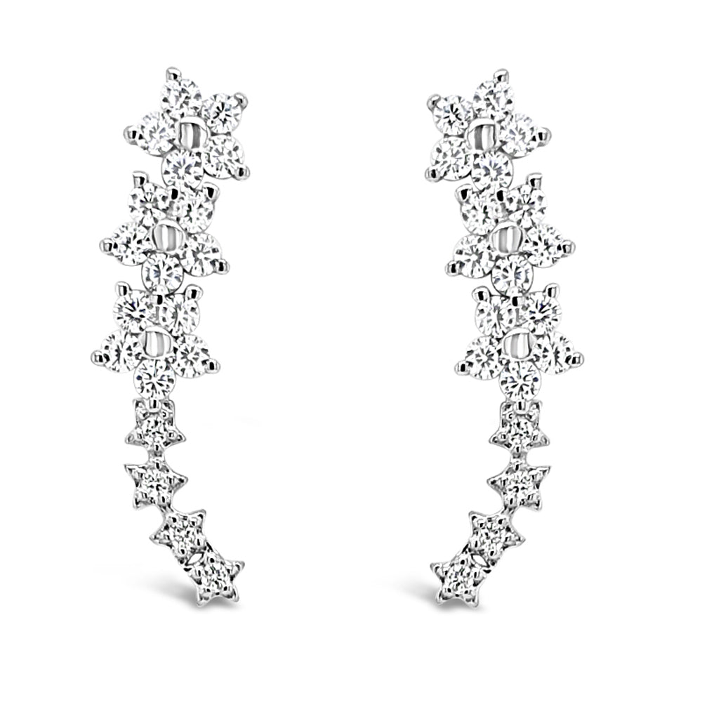 Alexi Floral Diamante Sterling Silver Crawler Stud Earrings - Eva Victoria