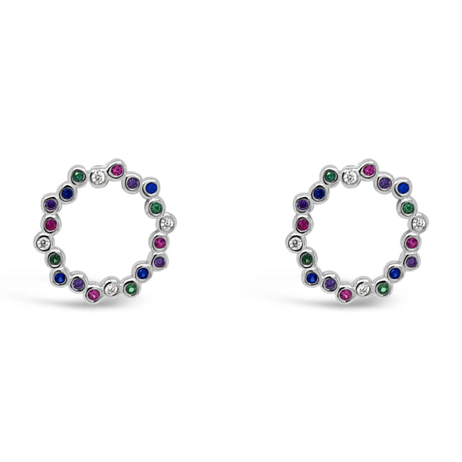 Gloria Multi Gem Sterling Silver Circle Stud Earrings