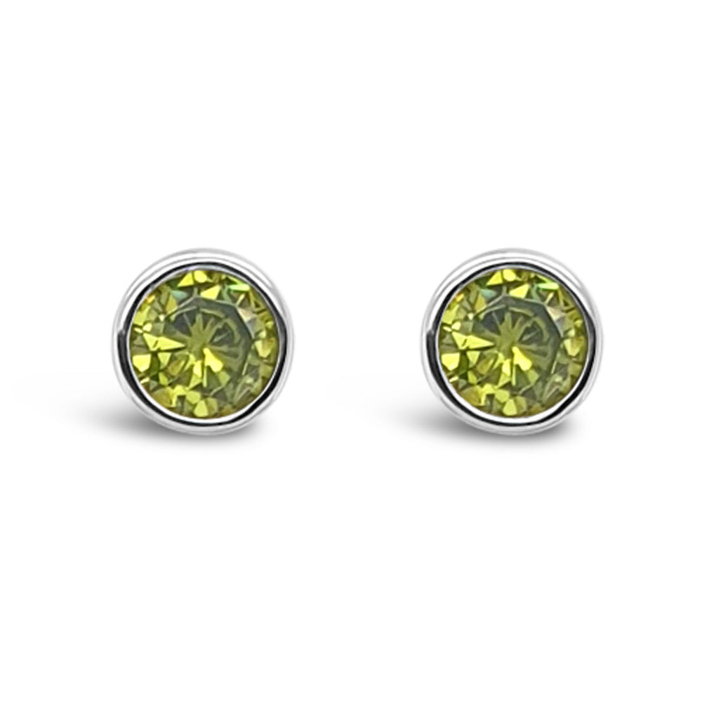 August Birthstone Sterling Silver Stud Earrings - Eva Victoria