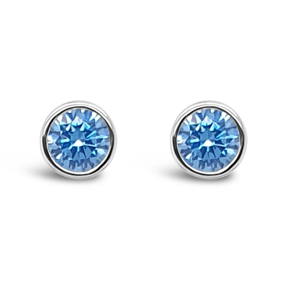 December Birthstone Sterling Silver Stud Earrings