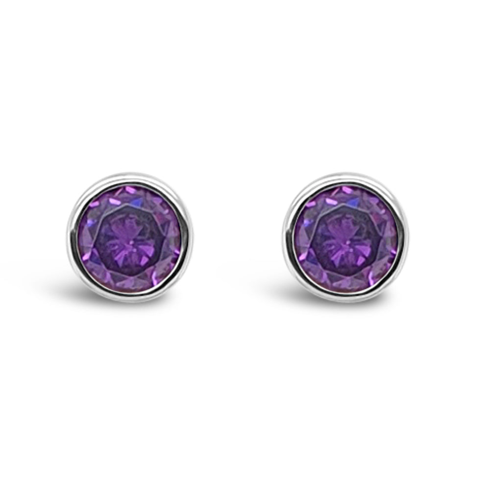 February Birthstone Sterling Silver Stud Earrings