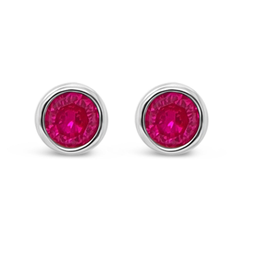 July Birthstone Sterling Silver Stud Earrings