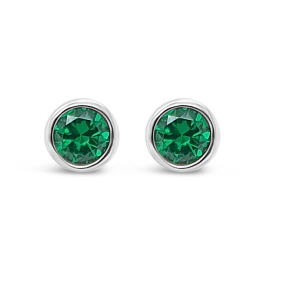 May Birthstone Sterling Silver Stud Earrings