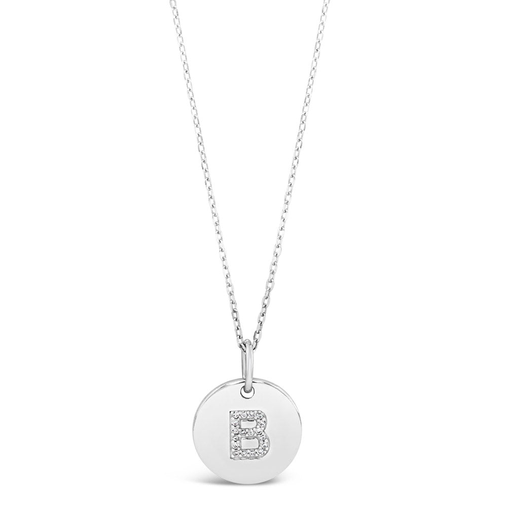 B - Initial Letter Sterling Silver Necklace - Eva Victoria