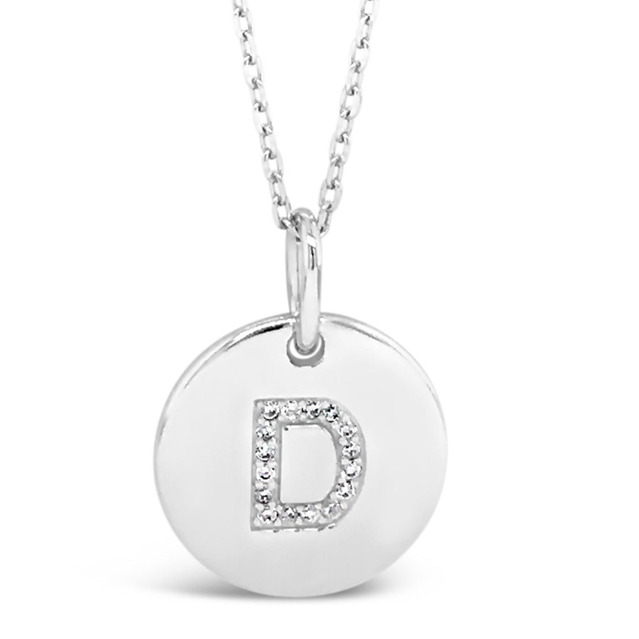D - Initial Letter Sterling Silver Necklace