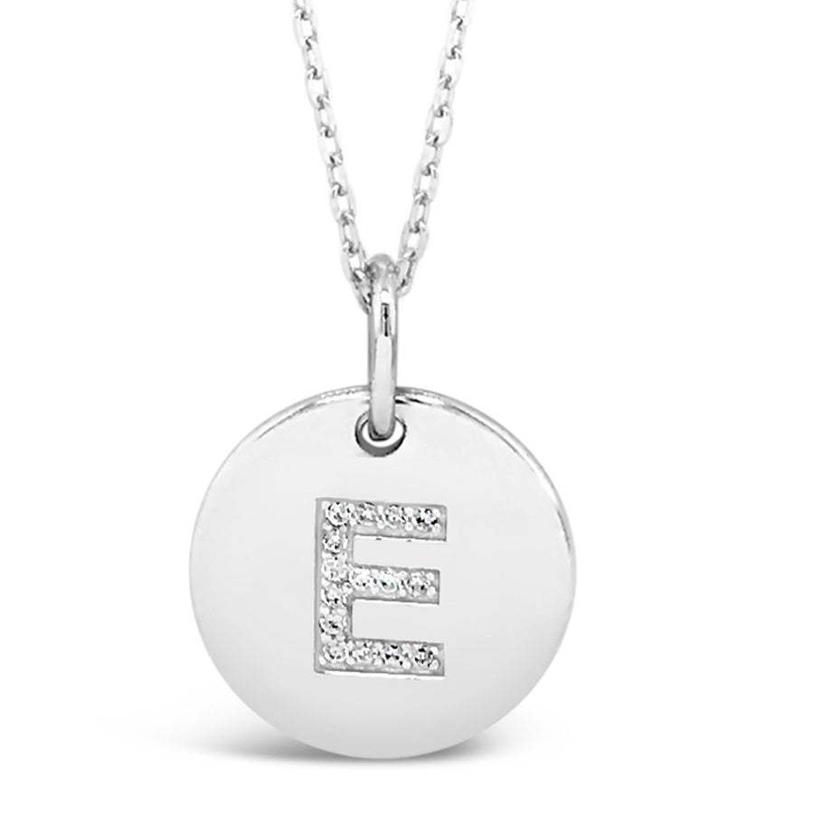 E - Initial Letter Sterling Silver Necklace