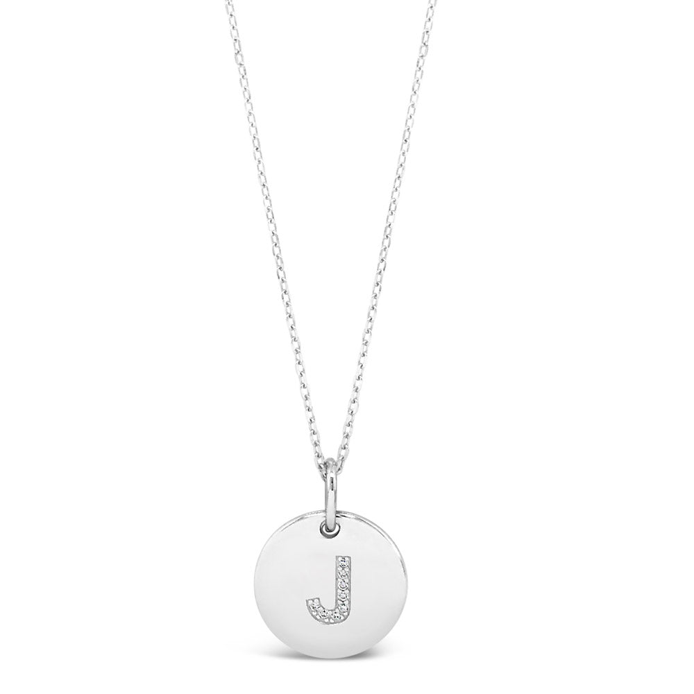 J - Initial Letter Sterling Silver Necklace