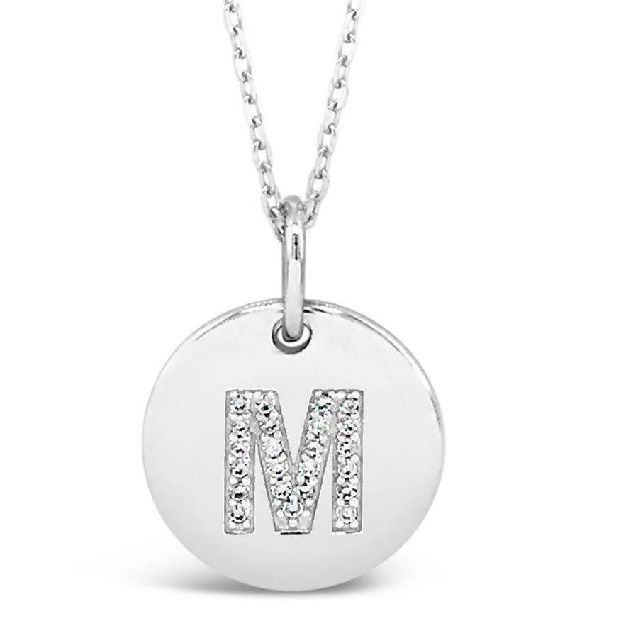 M - Initial Letter Sterling Silver Necklace