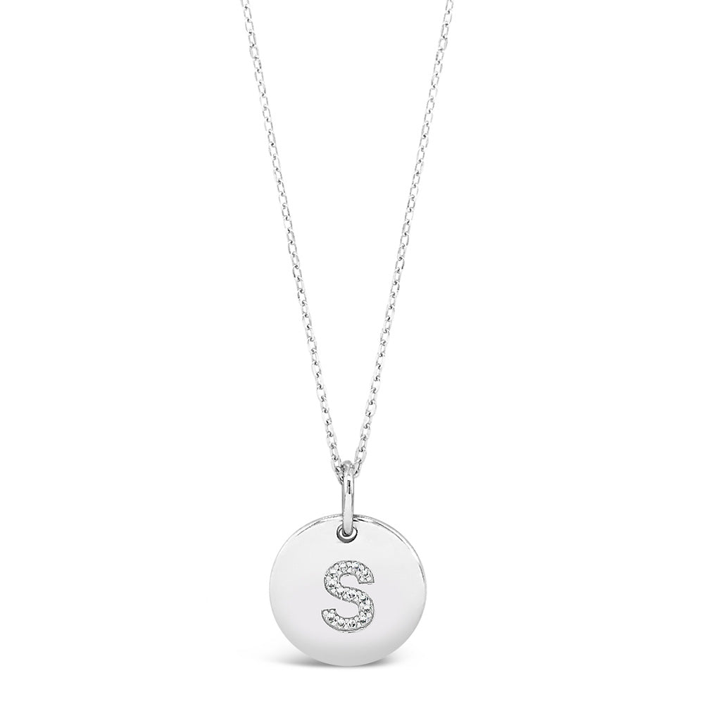 S - Initial Letter Sterling Silver Necklace