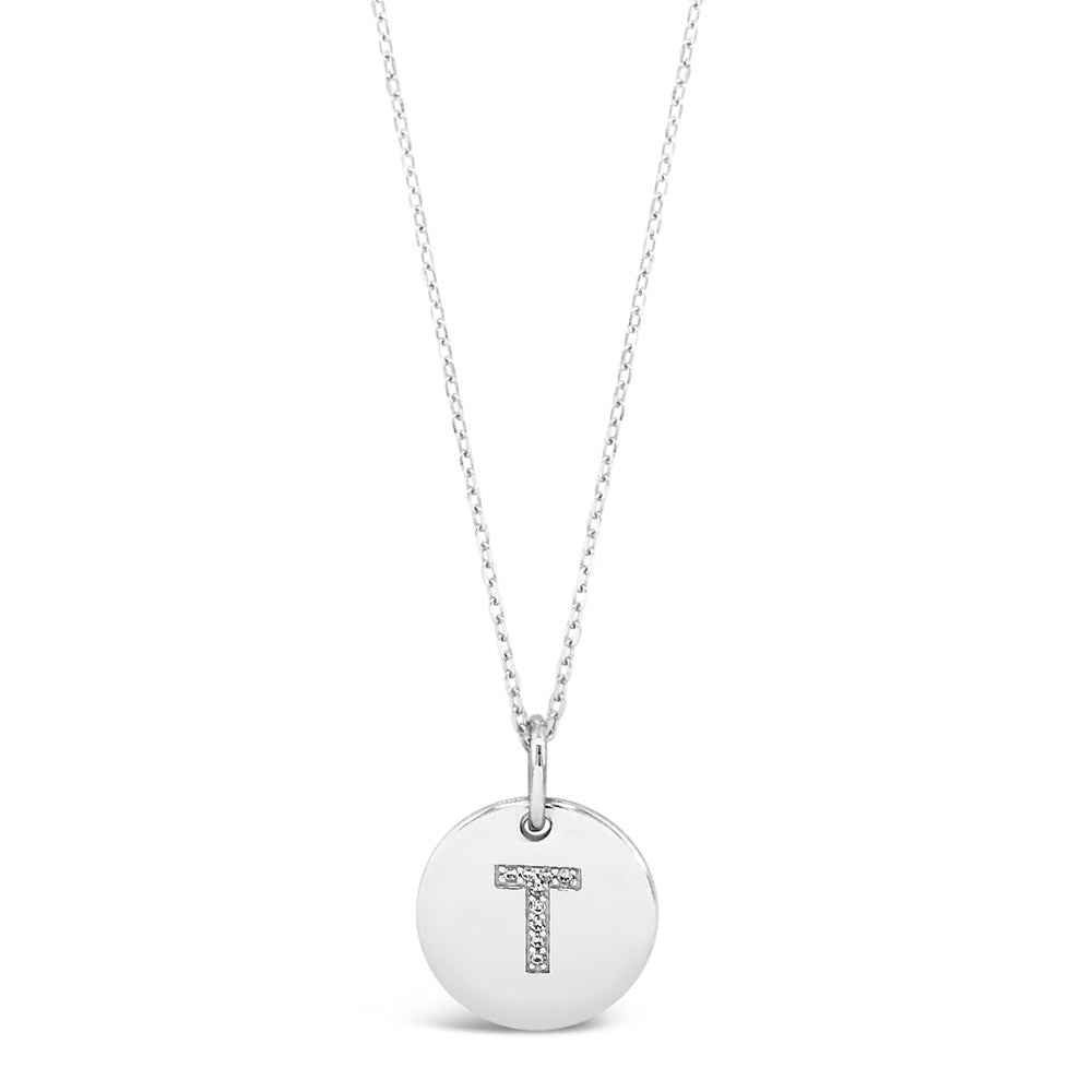 T - Initial Letter Sterling Silver Necklace