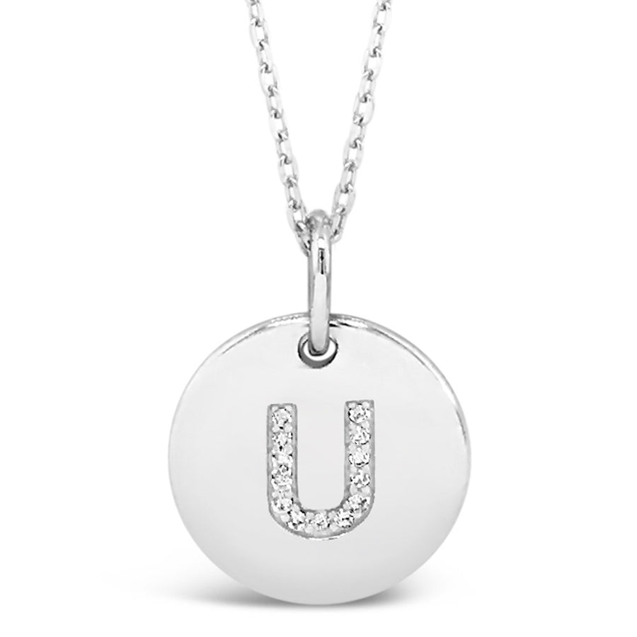 U - Initial Letter Sterling Silver Necklace
