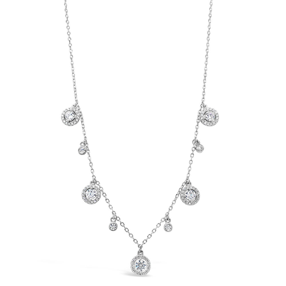 Amely Diamante Sterling Silver Charms Necklace - Eva Victoria