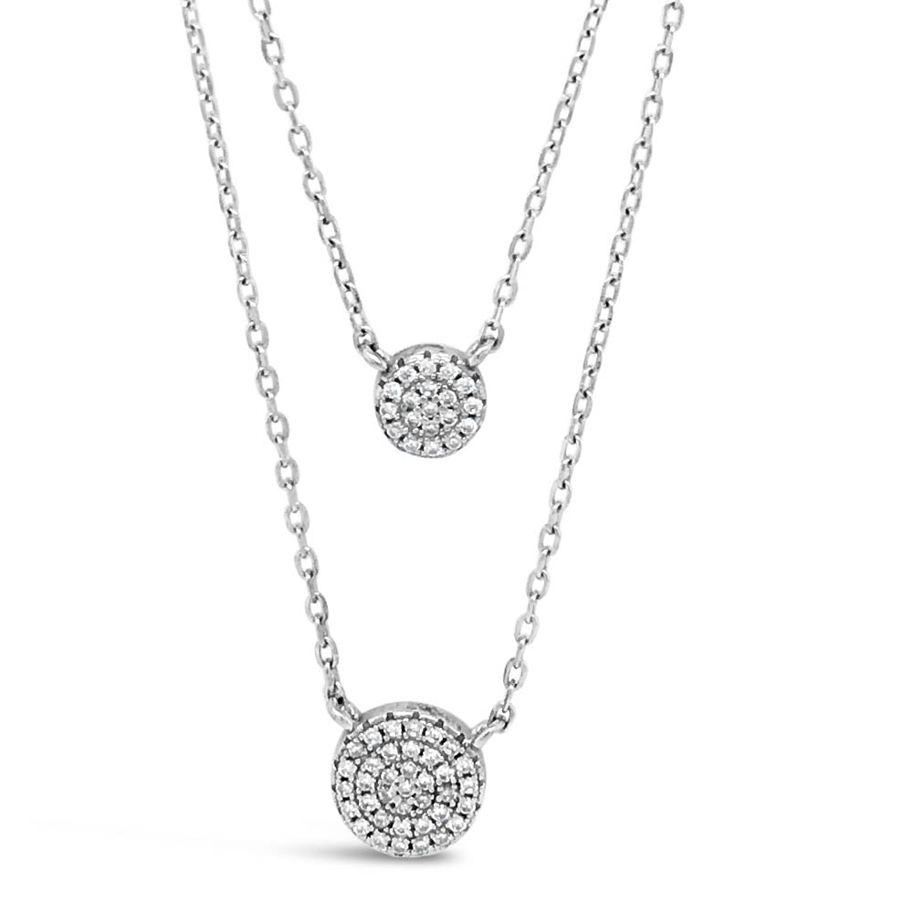 Two Circles Diamante Sterling Silver Double Layer Necklace