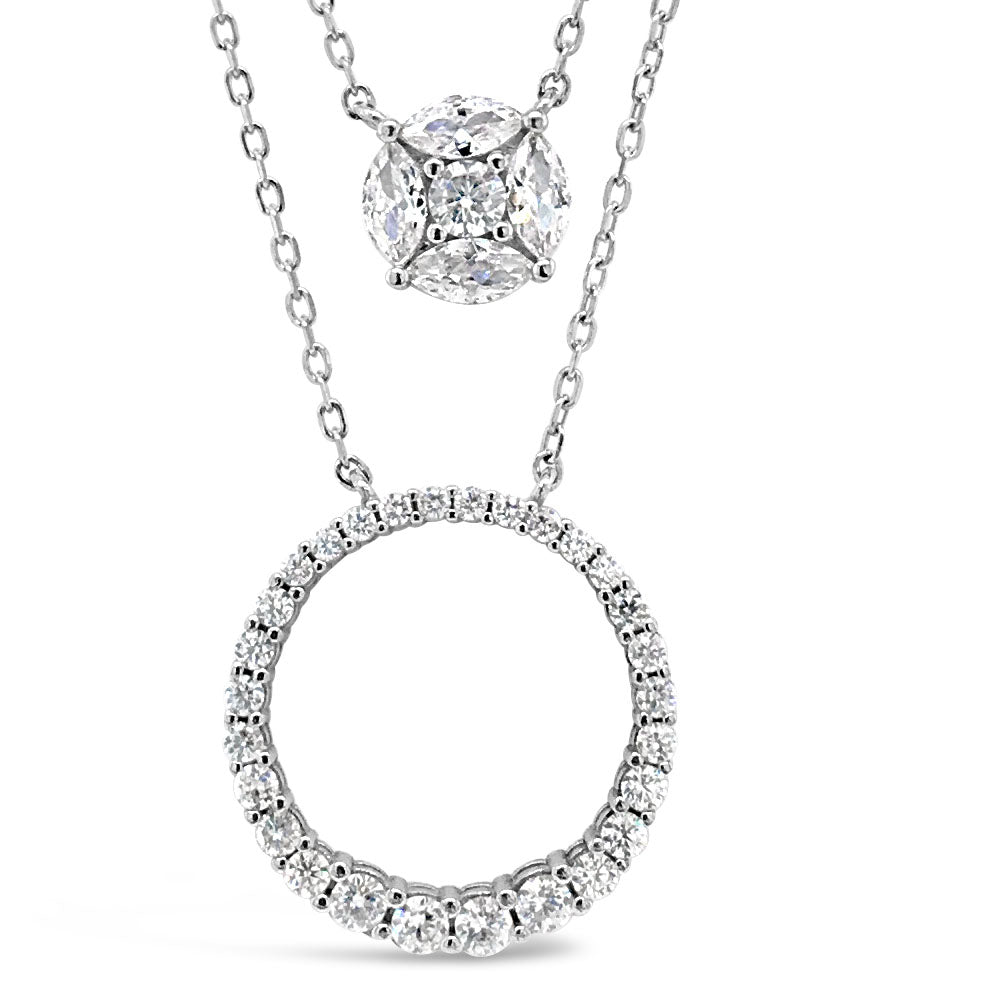 Reagan Diamante Sterling Silver Double Layer Necklace