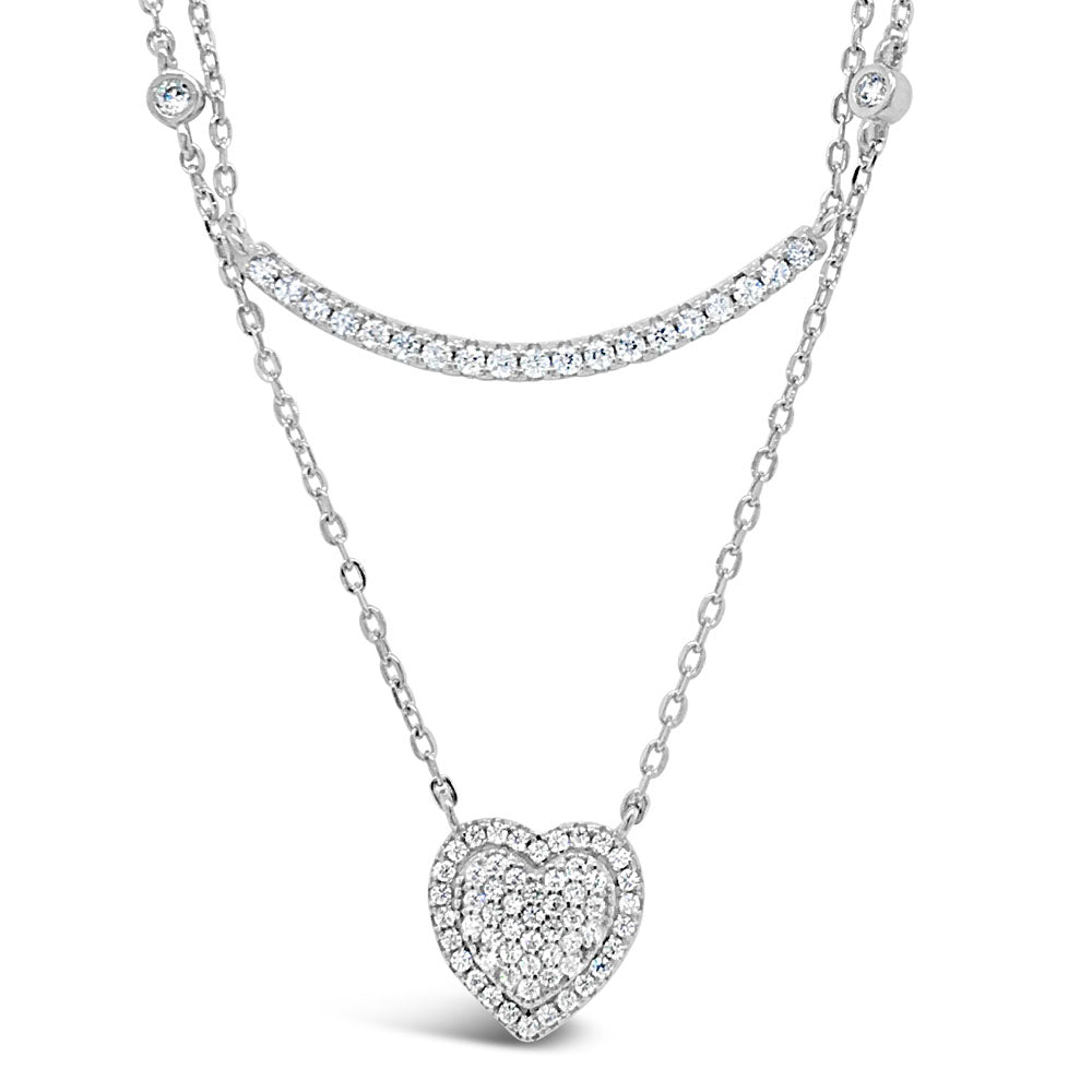 Holly Diamante Sterling Silver Double Layer Necklace
