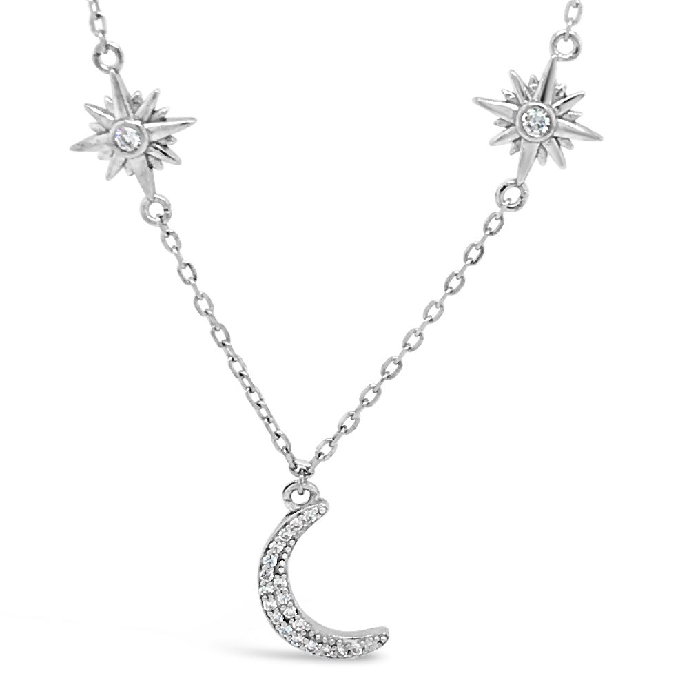 Moon & Stars Diamante Sterling Silver Necklace