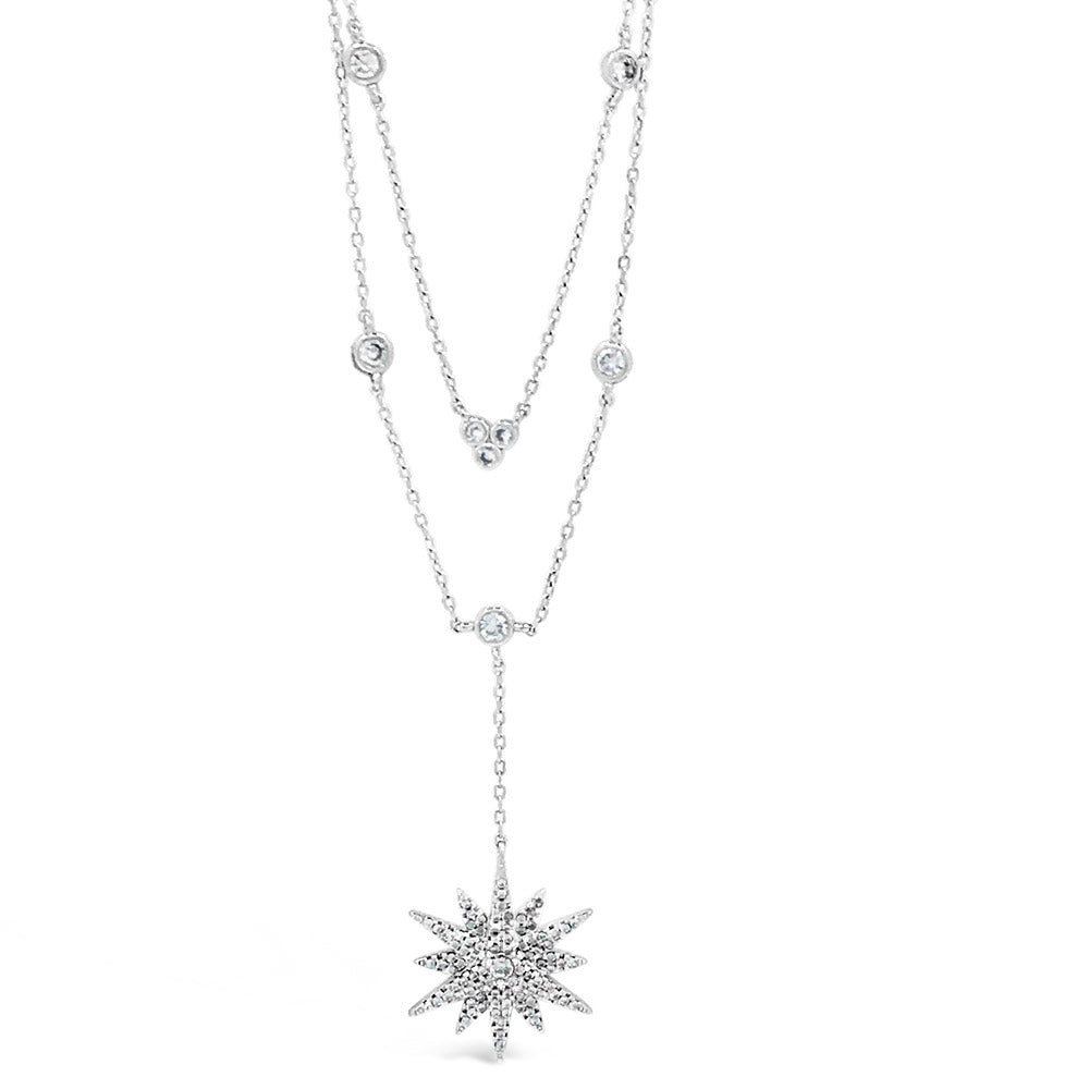 Polar Star Diamante Sterling Silver Layered Necklace