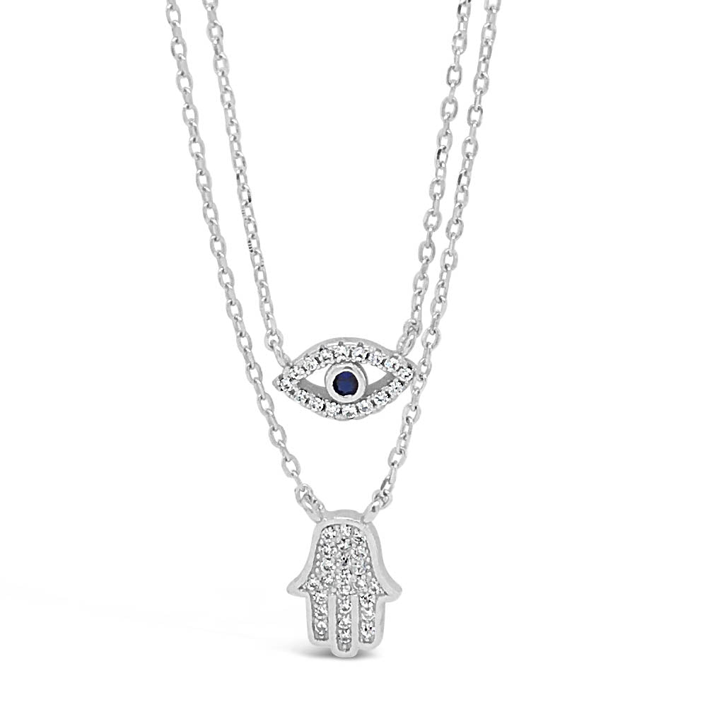 Fatima Hand Diamante Sterling Silver Layered Necklace