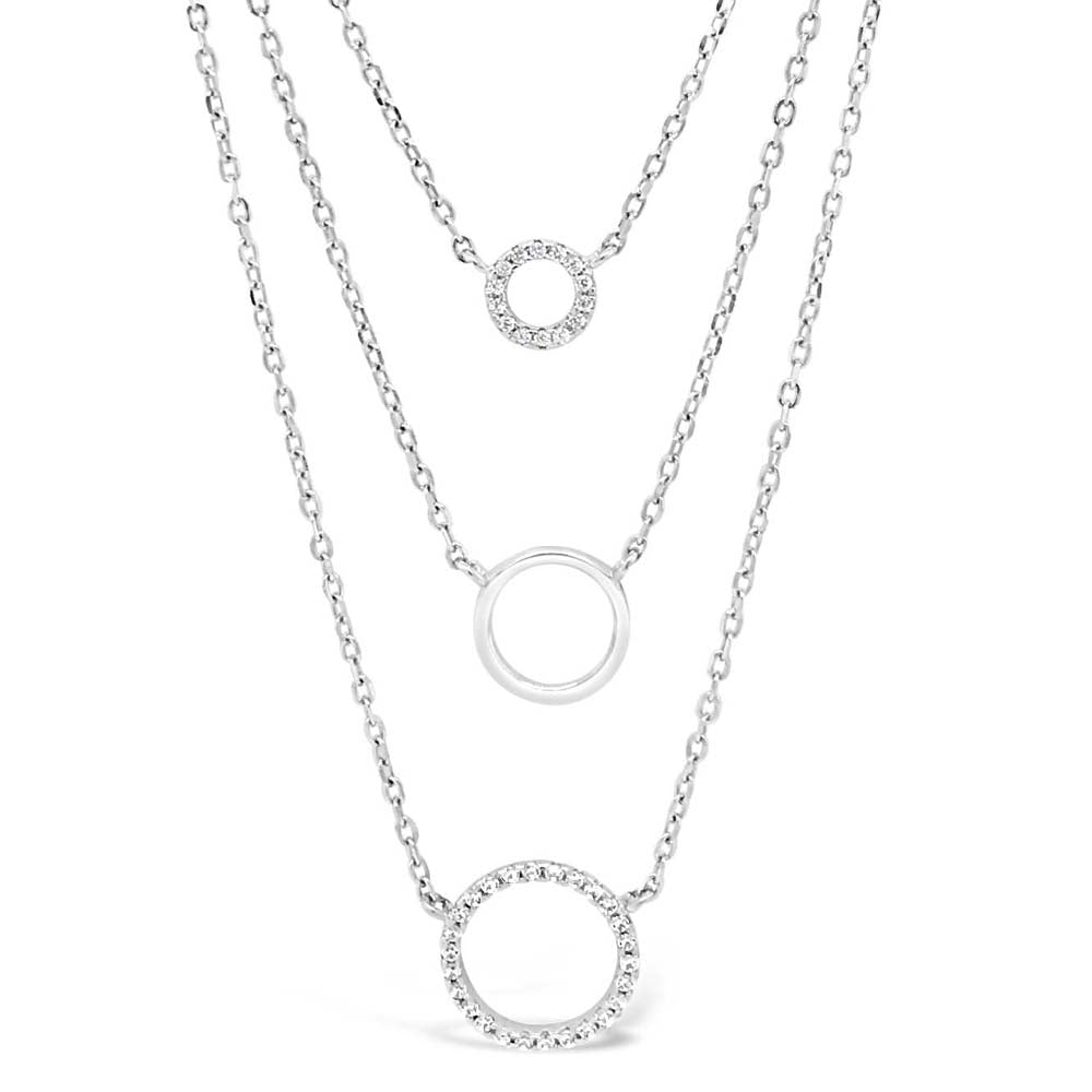 Tiffany Circles Diamante Sterling Silver Layered Necklace