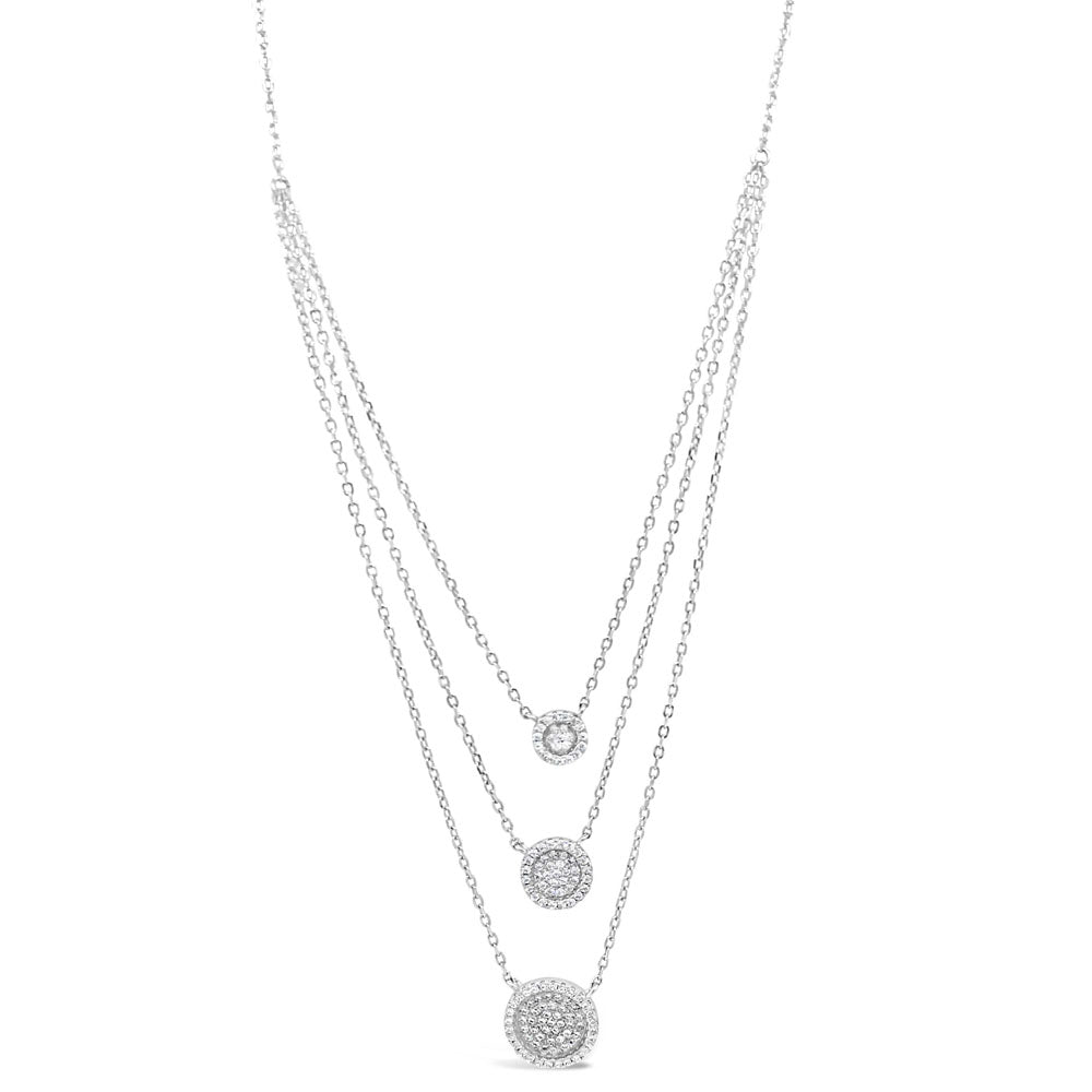 Adeline Diamante Sterling Silver Layered Necklace - Eva Victoria