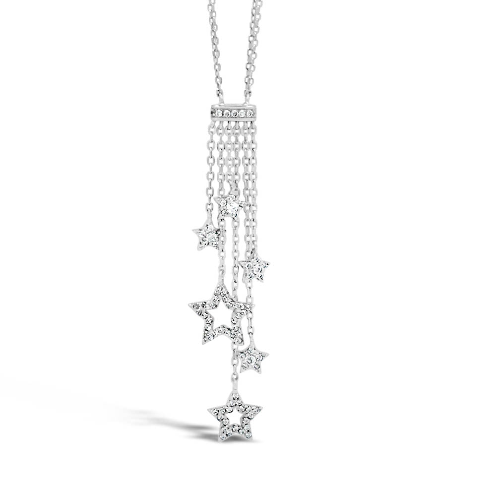 Star Tassels Diamante Sterling Silver Necklace