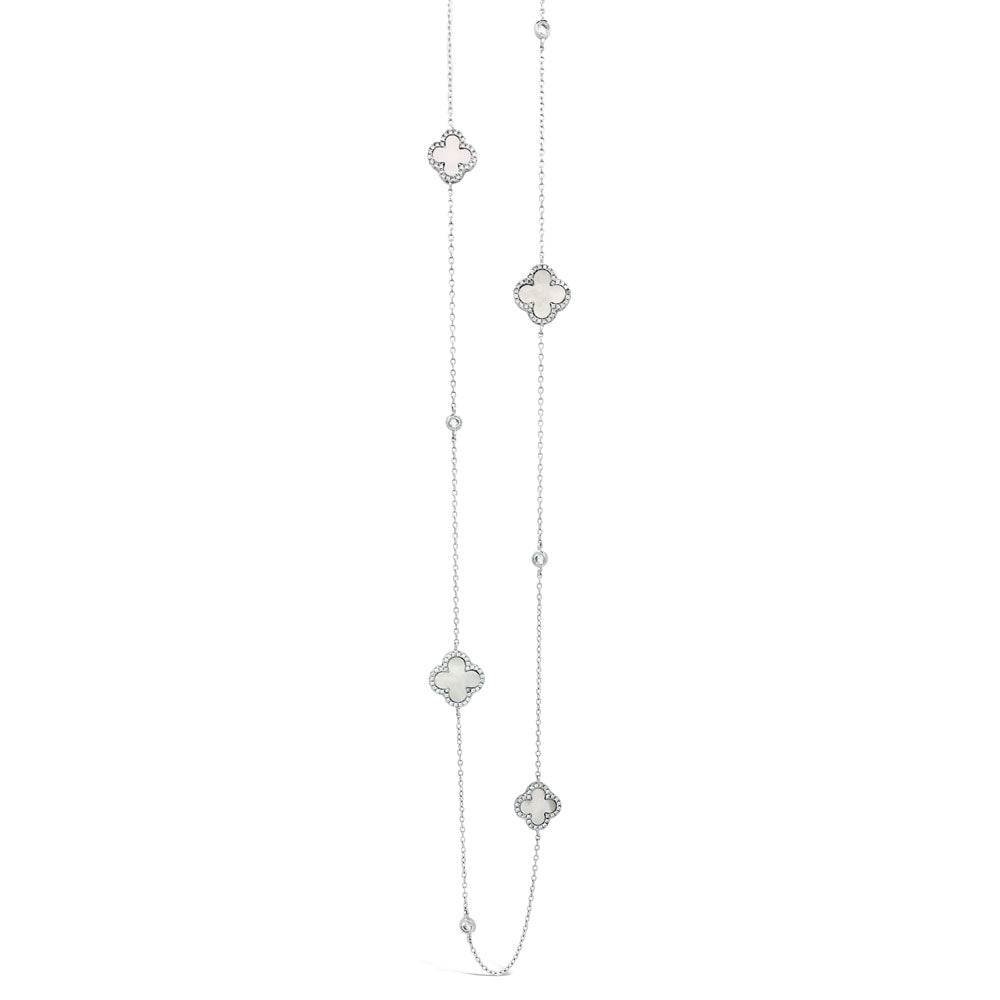 Tatiana Mother of Pearl Diamante Sterling Silver Long Necklace