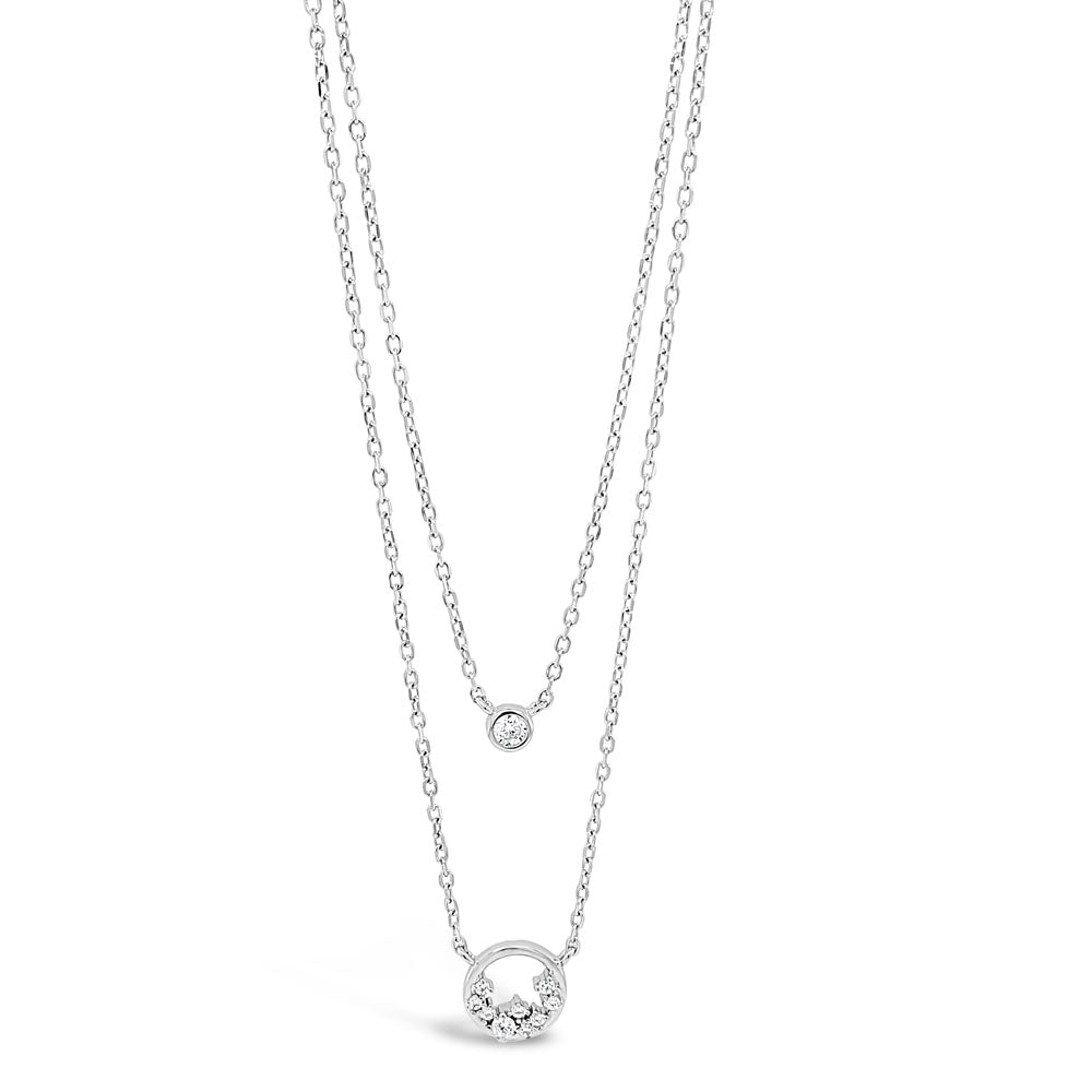Autumn Diamante Circles Floral Sterling Silver Necklace - Eva Victoria