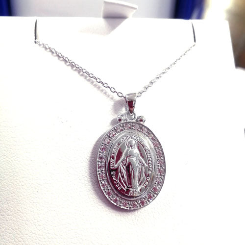 Miraculous Medal Sterling Silver with Cubic Zirconia