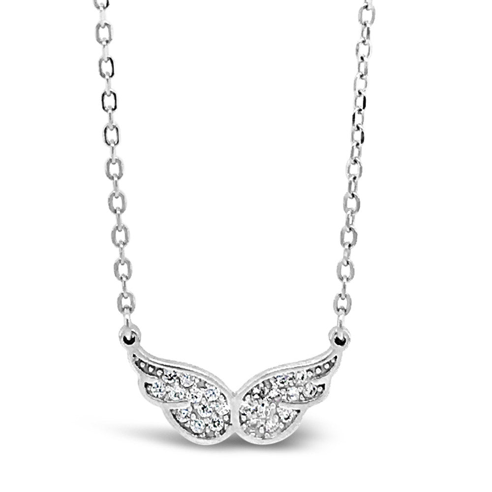 Angelic Wings Diamante Sterling Silver Crystal Pendant - Eva Victoria
