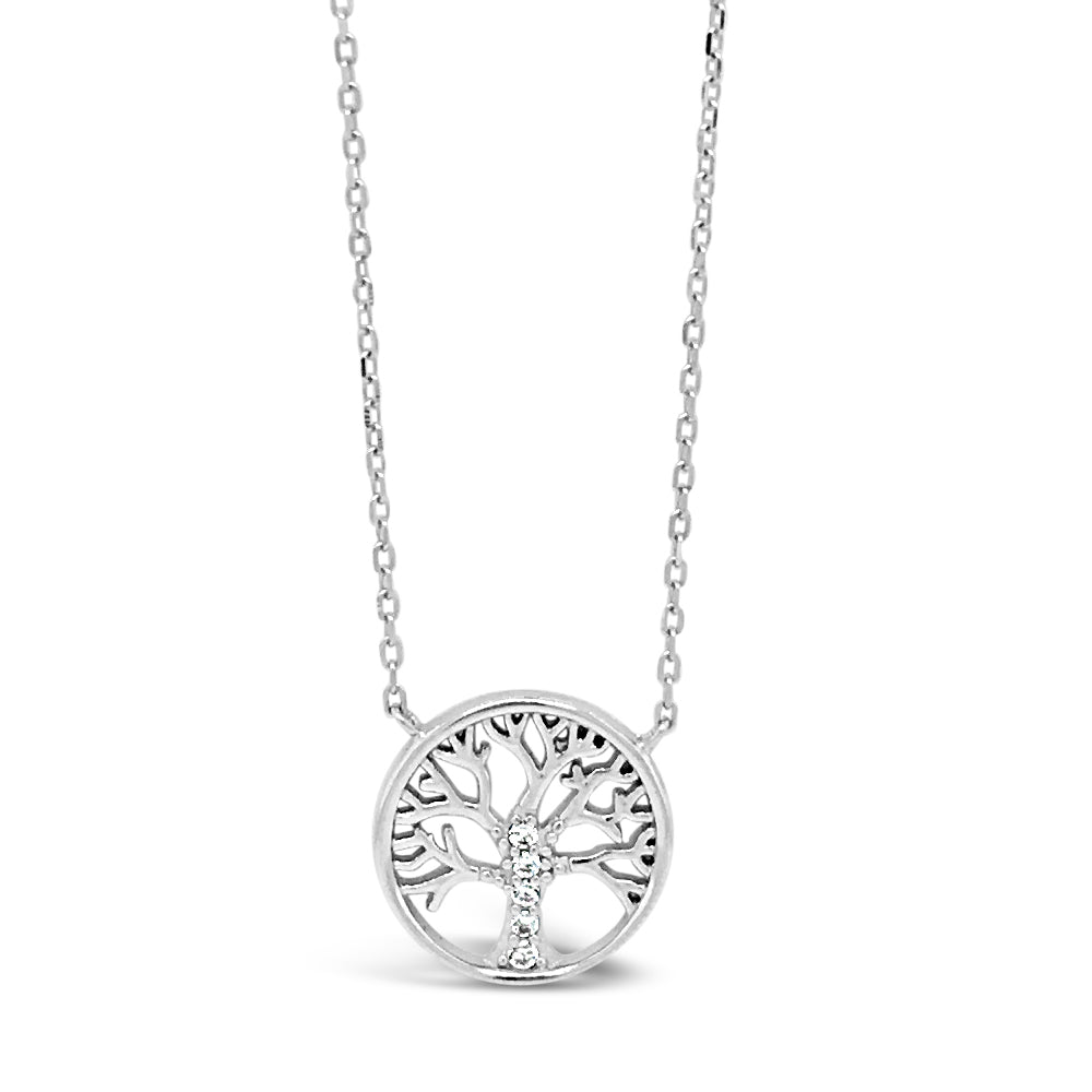 Tree of Life Circle Diamante Sterling Silver Pendant