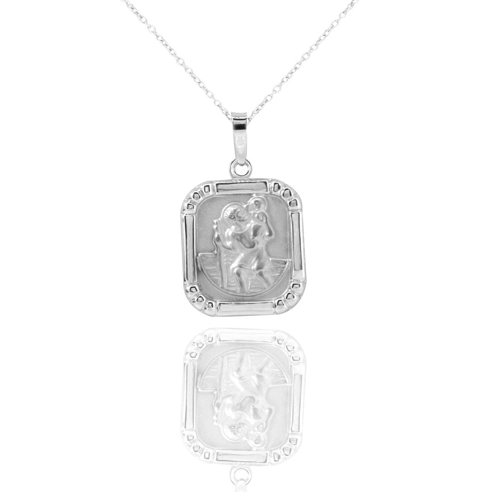 Saint Christopher Sterling Silver Square Medal