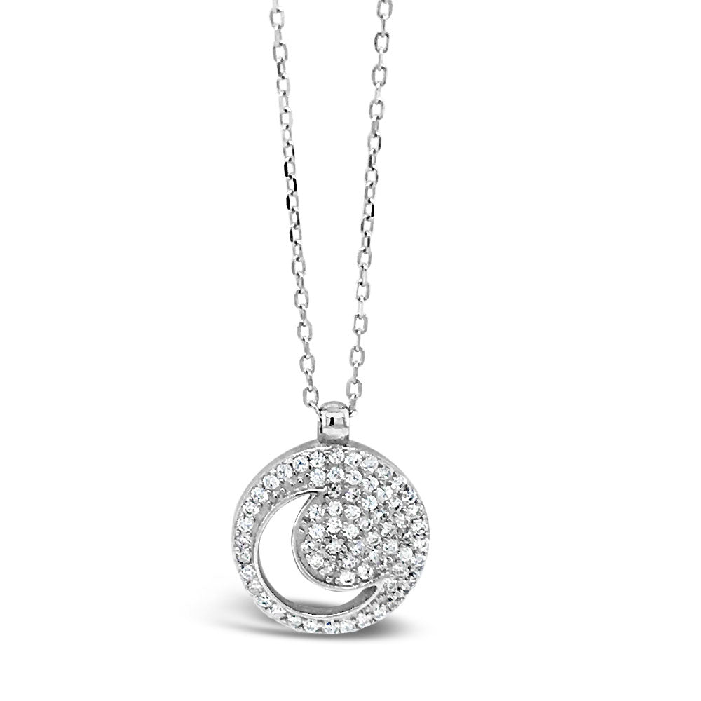 Moonlight Circle Diamante Sterling Silver Pendant