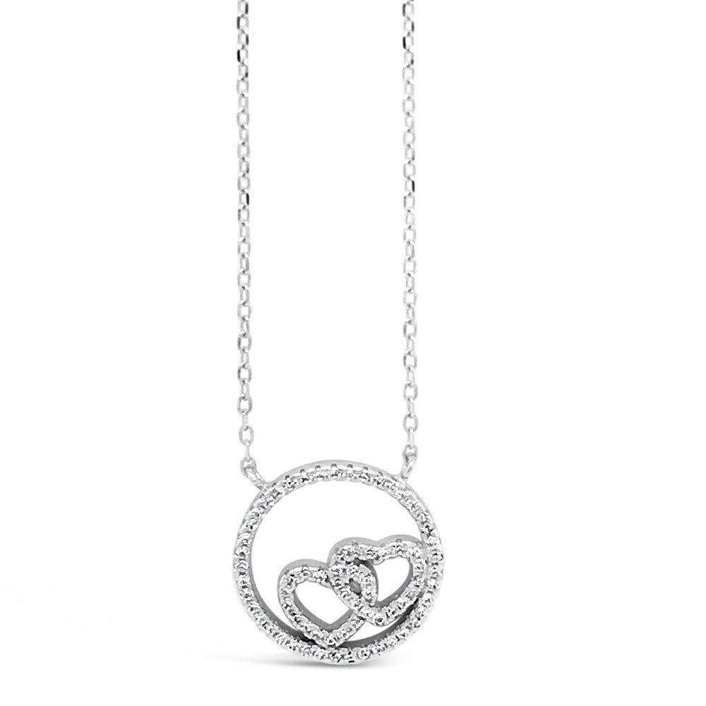 Entwine Hearts Circle Diamante Sterling Silver Pendant