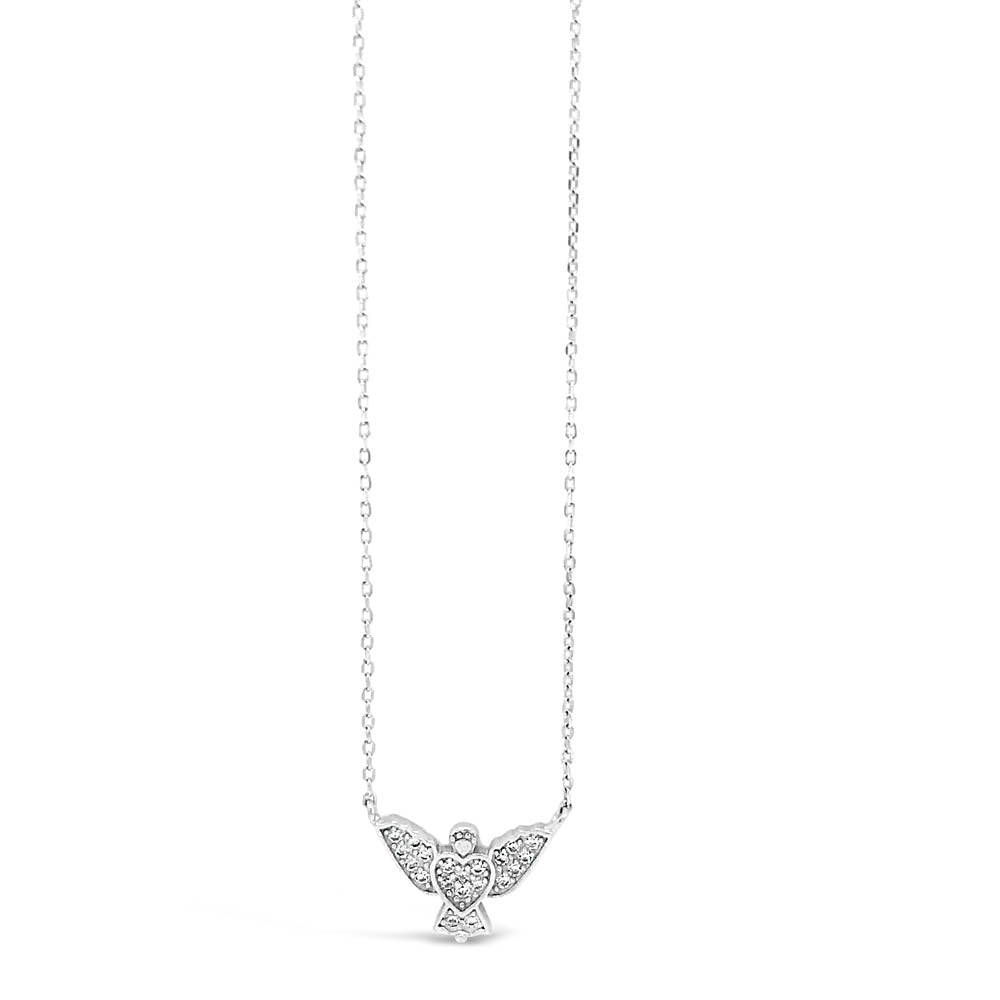 Dove Peace Heart Diamante Sterling Silver Pendant